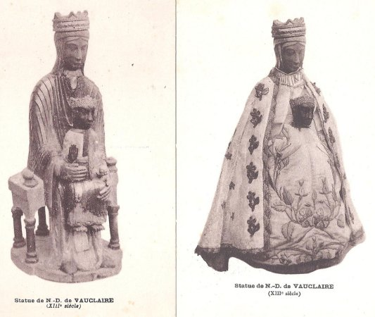 Old potcards are sold in the church that show the madonna when she was still black, crowned, and robed.