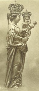 a drawing of the Queen of Peace, showing her hair style