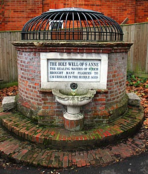 "The inscription reads: ""The Holy Well of S. Anne the healing waters of which brought many pilgrims to Caversham in the Middle Ages"""