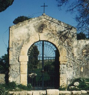 The entrance to the sanctuary bearing the words: Hermitage Maria SS (i.e. Santissima) Adonai