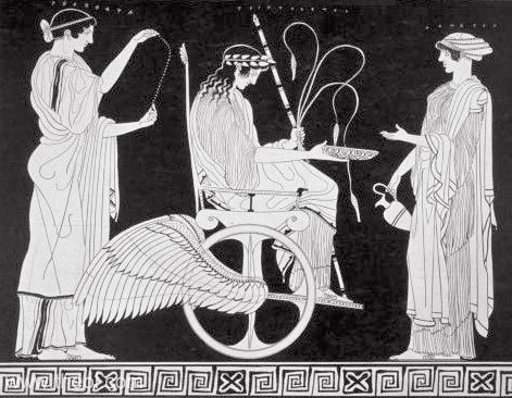 Demeter and Persephone bid the young demi-god Triptolemos adieu and send him off with their gift, the knowledge of growing cereals, to spread it around the world. Copied from a vase from about 450 B.C.E.