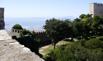 View from Venus temple over the Norman castle with the Mediterranean and the Egadi Islands in the background