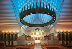 Though the architecture of the sanctuary is thoroughly modern Mary Beth Moser finds that it feels ancient.