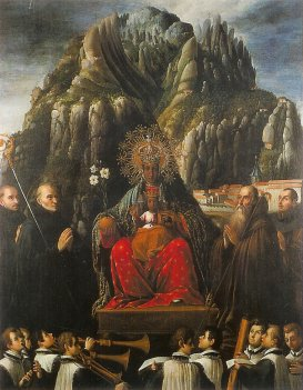 "I love this painting of the Black Madonna's holy mountain, where she is held as in the palms of God, surrounded by praying hands of flesh and rock.  By J.A. Ricci, ""Mare de Déu de Montserrat"", c. 1640, in Museu de Montserrat"