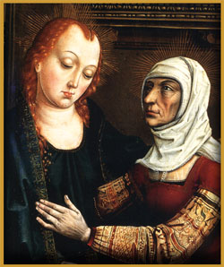 "Elizabeth and the Virgin Mary in: ""Visitation""  by Master of the retablo of the Reyes Catolicos"
