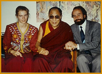 Ella Rozett with His Holiness the Dalai Lama and Michael von Brueck in 1990.