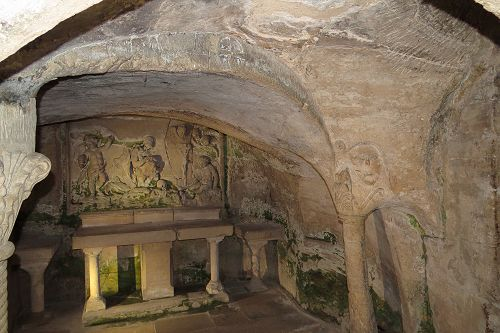 "The grotto of Lazarus and Mary ""Magdalene"" i.e. Mary of Bethanie."