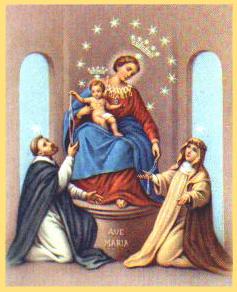 Nuestra Señora del Rosario y Jesús, entregando rosarios a Santa Catalina de Siena y San Domingo.