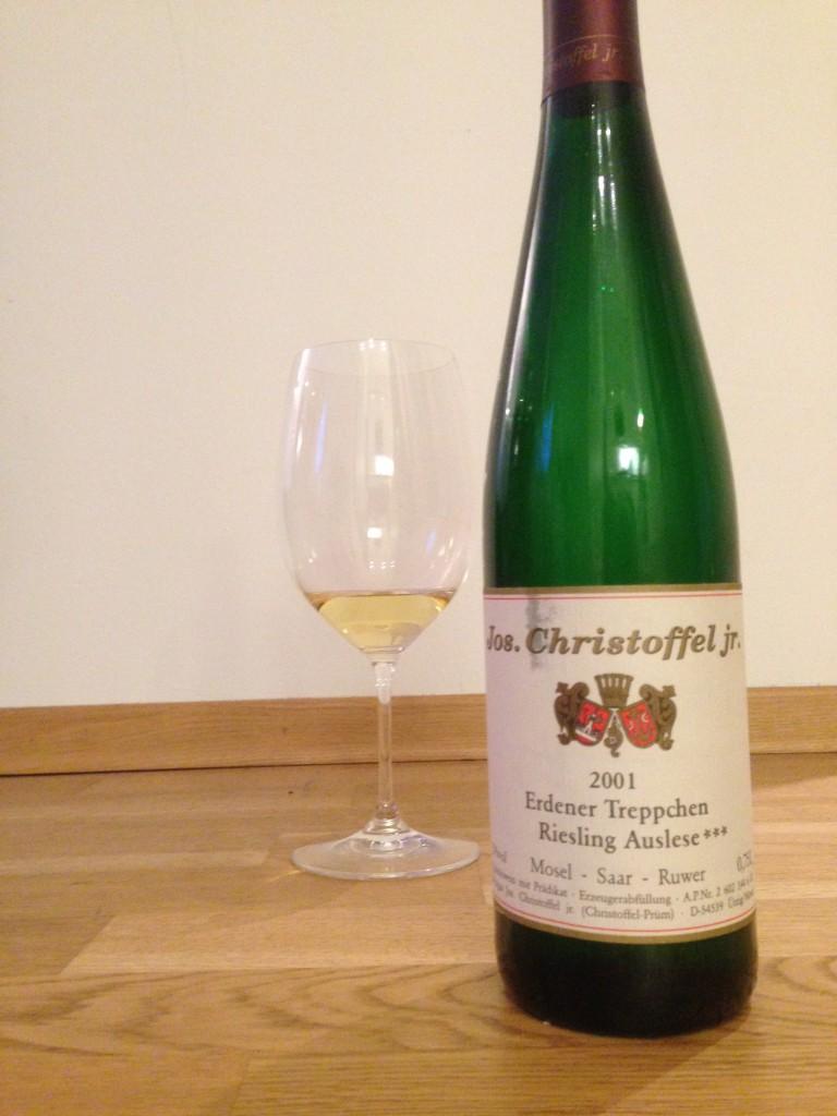 Jos. Christoffer. Jr. 2001 Erdener Treppchen Riesling Auslese***, ja det er svært godt!