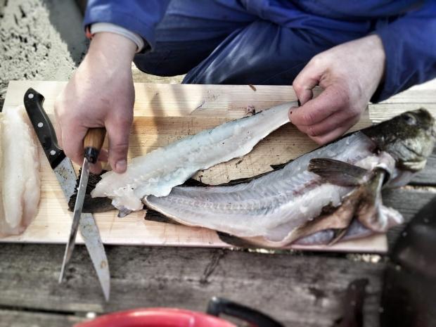 Filletert fisk ute i det fri.
