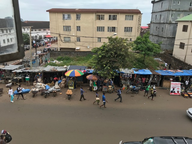 The view from the UMW Office (third floor of the Conference Office) downtown Freetown.