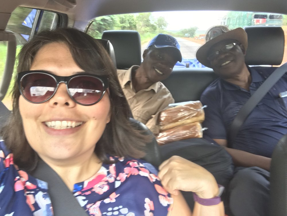 Three of us lectures and pastors making our way to Kono for camp.  In the back seat are Rev. Josiah (Evangelism) and Rev. Conteh (Systematic Theology and Dean of Students).