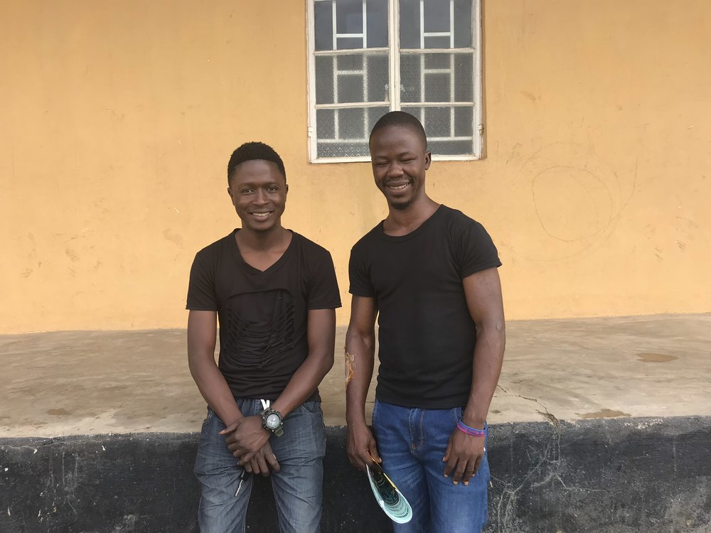 My driver, Navo, on the left (on his birthday) and my student Tamba Isaac on the right.  (Tamba is the boy's name for second born in Kono.  I have three Tamba's in my class at the school.)