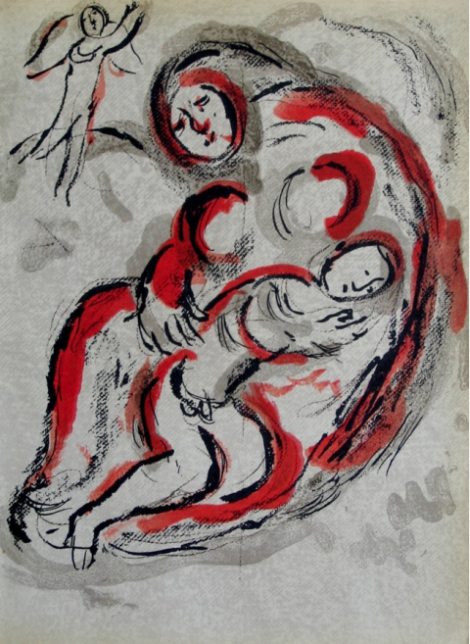 Hagar in the Desert by Marc Chagall. Limited edition lithograph, 1960