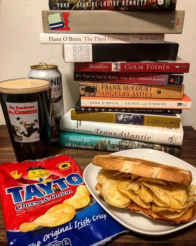 Happy St. Patrick's Day! 📚🍀🥪📚🍀🥪📚🍀🥪📚🍀🥪📚🍀🥪📚 . Enjoying the best Irish sandwich (the Tayto Crisp), a Guinness, and the company of some of my favorite Irish writers. You should do the same. . Whatever you're gettin' into tonight, friends...please remember to be safe and, as always, read (Irish) books and eat (Irish) sandwiches! 🇮🇪 . #thesignaturesandwich #stpatricksday #ireland #books #sandwich #readbookseatsandwiches #bookstagram #booksofinstagram #food #bread #tayto #butter #guinness #readabookinstead