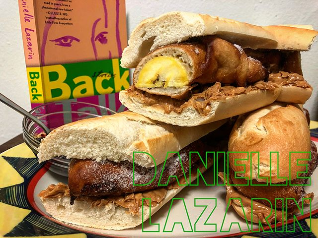 "DANIELLE LAZARIN! . ""Peanut butter (crunchy, but I'll allow creamy) + bananas on a baguette. Enjoy!"" ➖ @backtalkbook . Inspired by my Filipino mother's Turon recipe, I decided to make Danielle's classic sandwich with a twist: using battered and fried ripe plantains, giving this Signature Sandwich a warm and satisfying crunch with every bite! I recommend adding a healthy smear of raspberry preserves 🥜🍌🥖🤤 . Thank you so much for taking part, @backtalkbook  Hope you give this recipe a shot and enjoy it as much as I did. . #daniellelazarin #backtalk #thesignaturesandwich #sandwich #peanutbutter #banana #plantain #filipino #turon #filipinoturon #baguette #books #readbookseatsandwiches #readabookinstead #eatasandwichandgetbacktowork #yourfavoritewriterstheirfavoritesandwiches #bookstagram #booksofinstagram #penguinbooks #penguin"