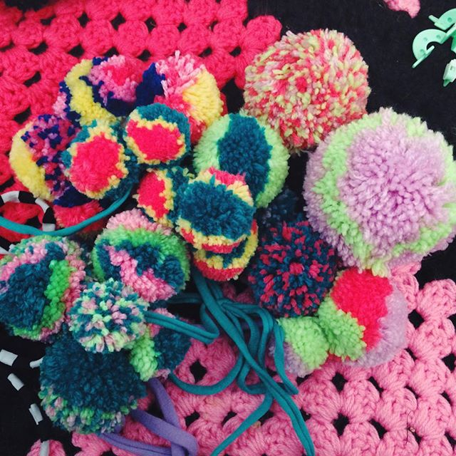 All the pompoms! #swag #bestival #ambientforest #workshops #pompoms #yarn #colour #handmade #crochet #knit #katiejonesknit