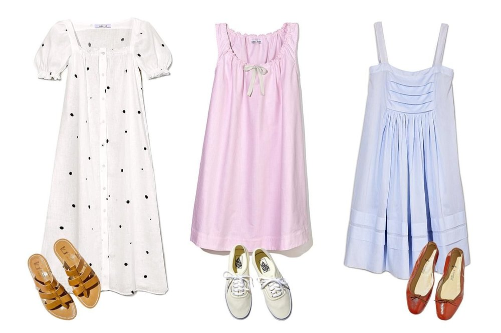 From left: Lounge Dress, $320, the-sleeper.com; Sandals, $310, kjacques.fr; Nightie, $195, thesleepshirt.com; Sneakers, $50, vans.com; Three Graces London Dress, $480, net-a-porter.com; Porselli Flats, $230, usonline.apc.fr PHOTO: F. MARTIN RAMIN/THE WALL STREET JOURNAL, STYLING BY JUDITH TREZZA