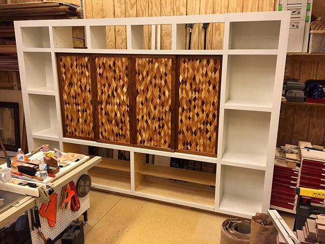 The full #cabinet, pre-assembled in the shop, prior to installation day.  It's built in modules, so it disassembles into smaller pieces for moving.