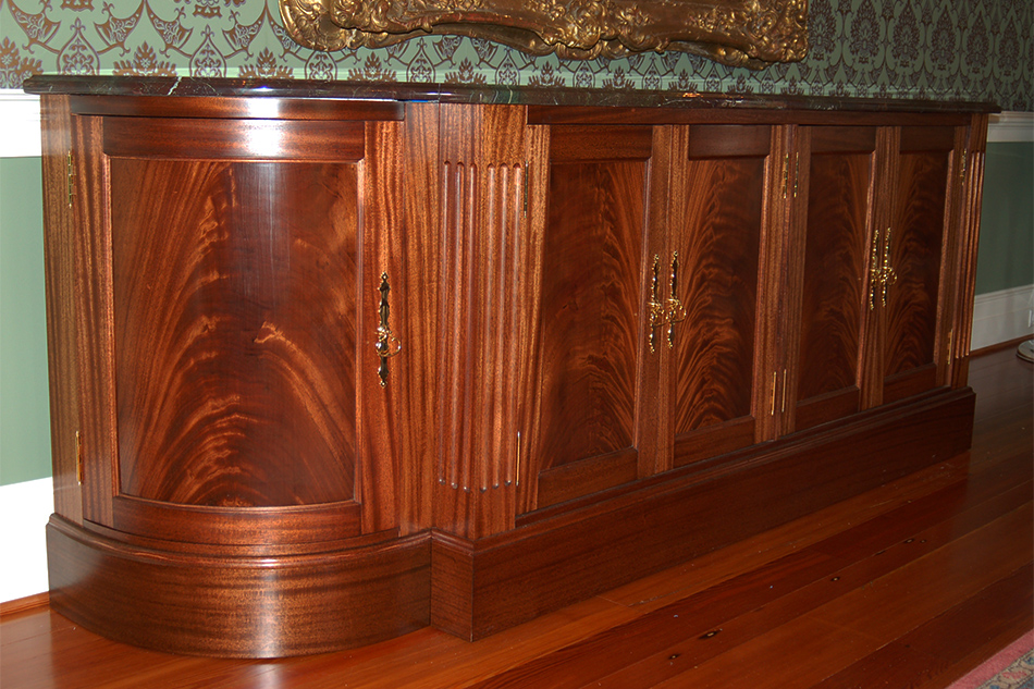 Mahogany Buffet    This buffet uses mahogany crotch grain within the door panels.