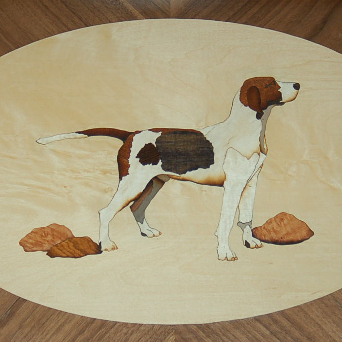Hound Tray   Marquetry work of a beloved hound.