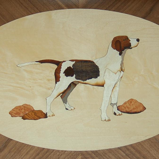 Hound Tray   Marquetry work of a beloved hound.