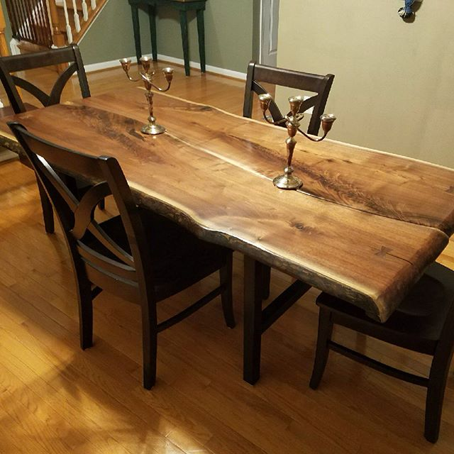 Here's a recently delivered #walnut #slab #dining table, shown from delivery day back through construction, leveling, and purchase of 2 rough #slabs at Wall Lumber in Madison, NC.