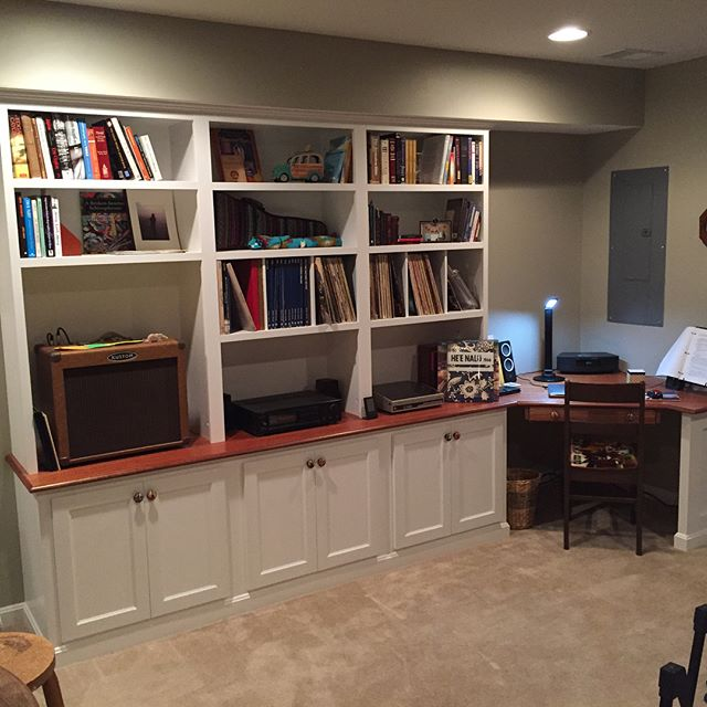 Before & After pictures of a project for customers in Warrenton, VA.  Everything now has a place! #builtin #cabinets