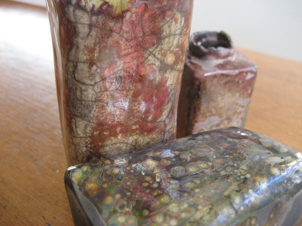 Raku set close-up