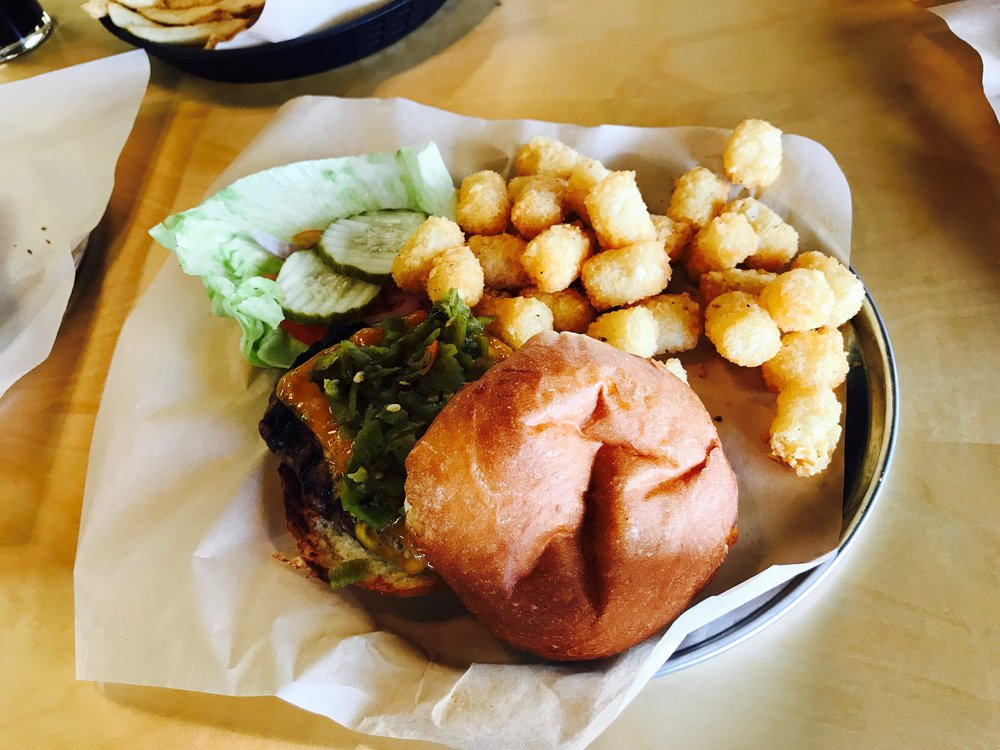Green Chili Burger with Tots