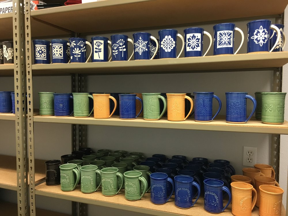 Mugs on my studio shelf, ready for shipment!