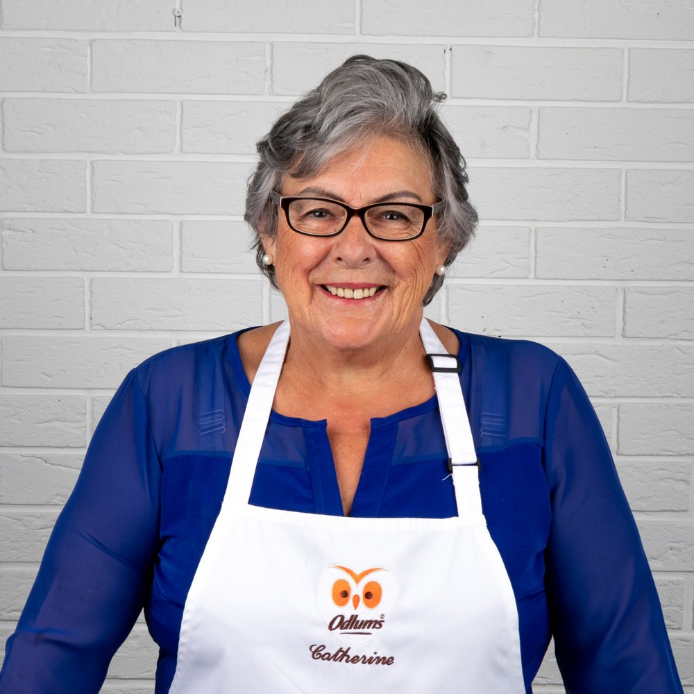 CATHERINE LEYDEN   Catherine studied for a Diploma in Home Economics and has been working with Odlums since 1974. Over the years, her down to earth style has led to a huge following among Irish bakers.  Catherine's popularity is none more evident than on her weekly baking feature on Ireland AM. Approx. 75k viewers tune in weekly to watch Catherine showcase her hands on, no fuss, and easy to follow style of baking.  Over the years, Catherine has made regular appearances on TV3, RTE, and a host of national and regional radio stations. Catherine also appeared on the Martha Stewart Show on America's NBC station to bake some traditional Irish recipes.  Catherine continues to play an integral role within the team by contributing towards the development of the Odlums product range, most recently in relation to the new premium range of Organic, Spelt and Rye flours, as well as the new and improved 'Bake Your Own' Breads, Scones and Cake Mixes range.