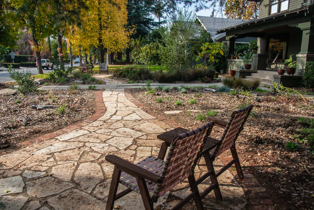 Respite in the garden, courtesy of a new flagstone patio and a deergrass/wildflower border. ( Photo: David Newsom)