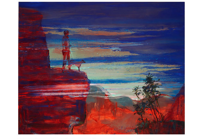 Man-boy with Dog as Dusk on cliff (from 'Sergeant York')