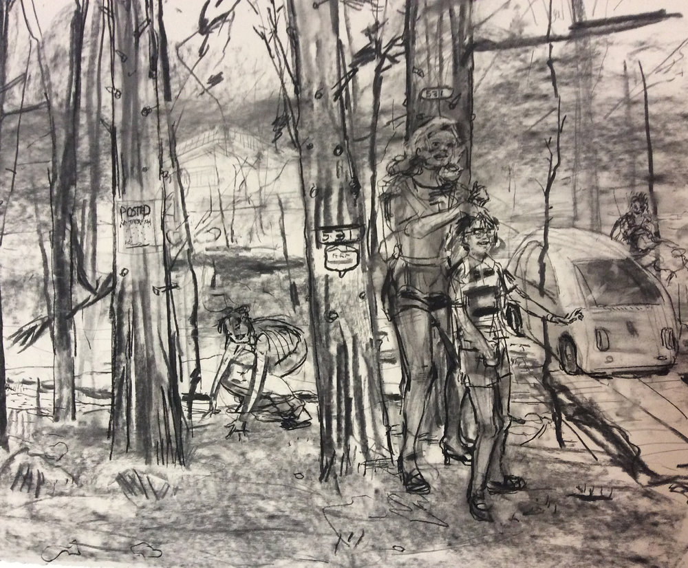 Road Trip Piss charcoal 28 by 40 inches 2016.jpg