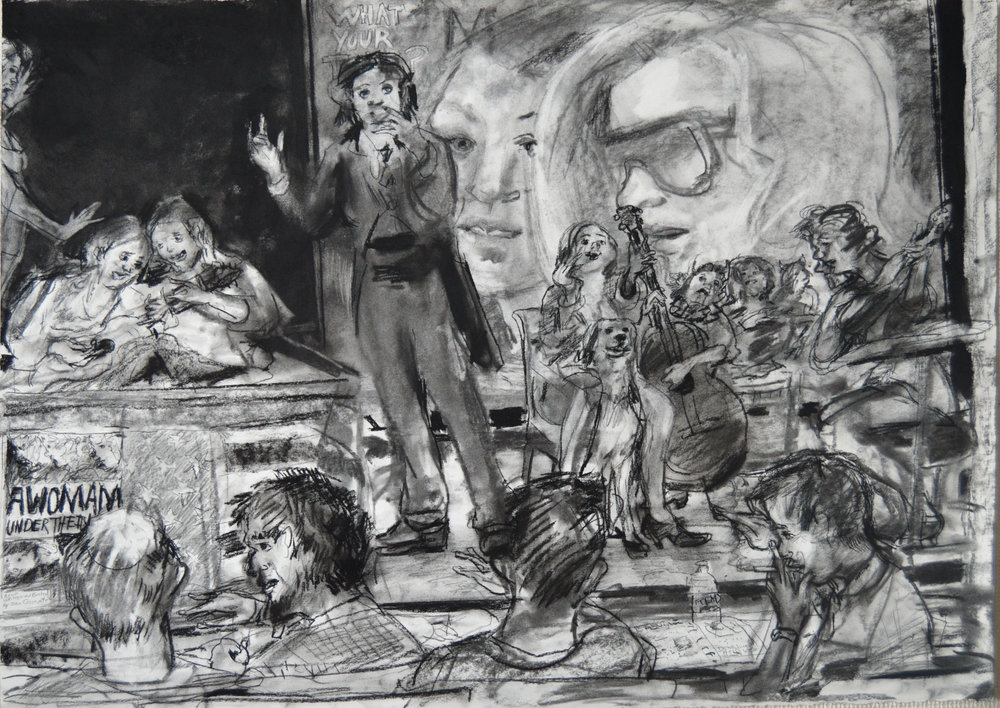 Gena Lecturing charcoal 28 by 40 inches 2015.jpg