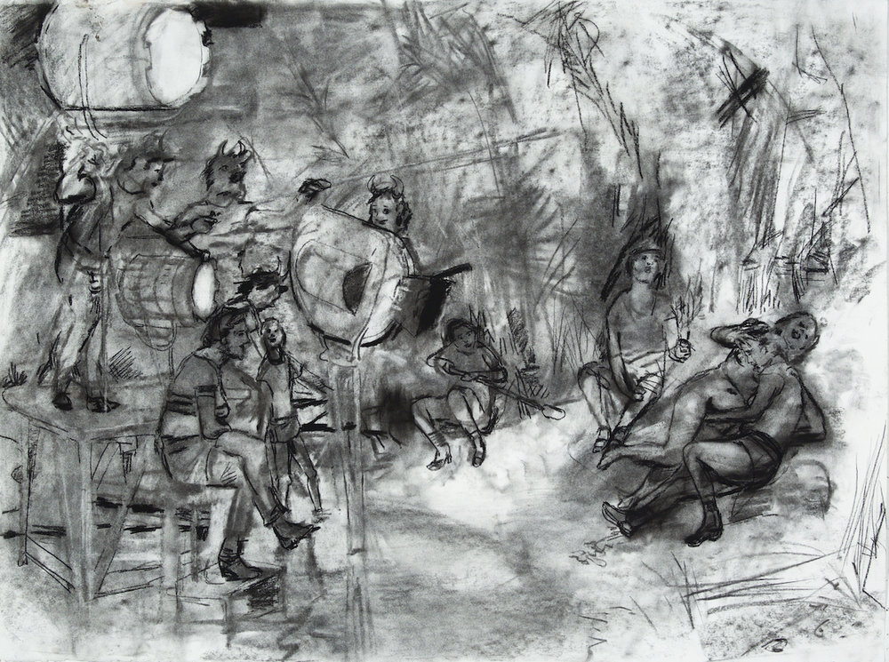 Lesbian Porn on the Set of Visconti's Bellissima charcoal 28 by 40 inches 2015.jpg