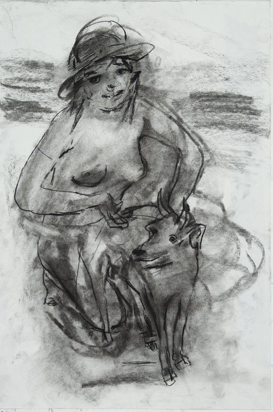 Goat Mom charcoal 24 by 18 inches 2015.jpg