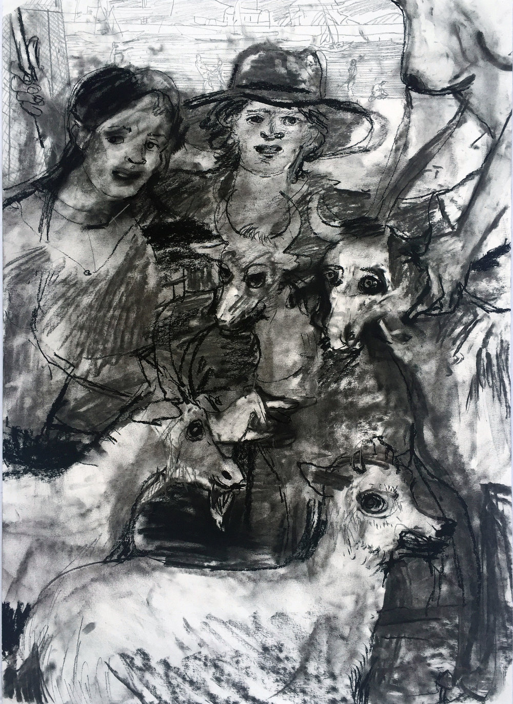 Heard 18 by 24 inches charcoal on paper 2016.jpg