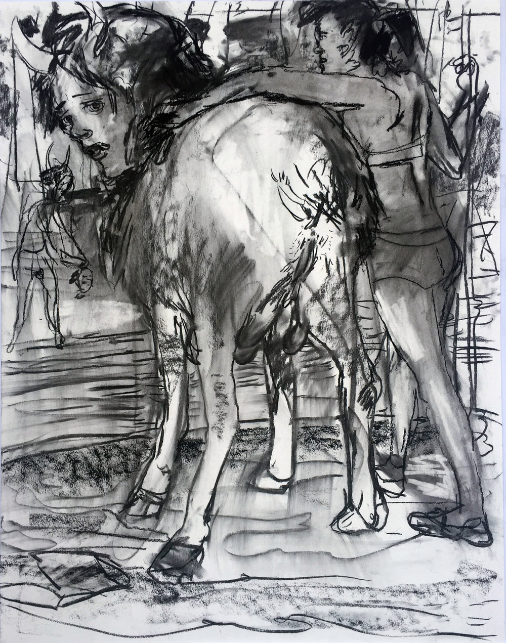 Horny Goatlady 18 by 24 inches charcoal on paper 2017.jpg