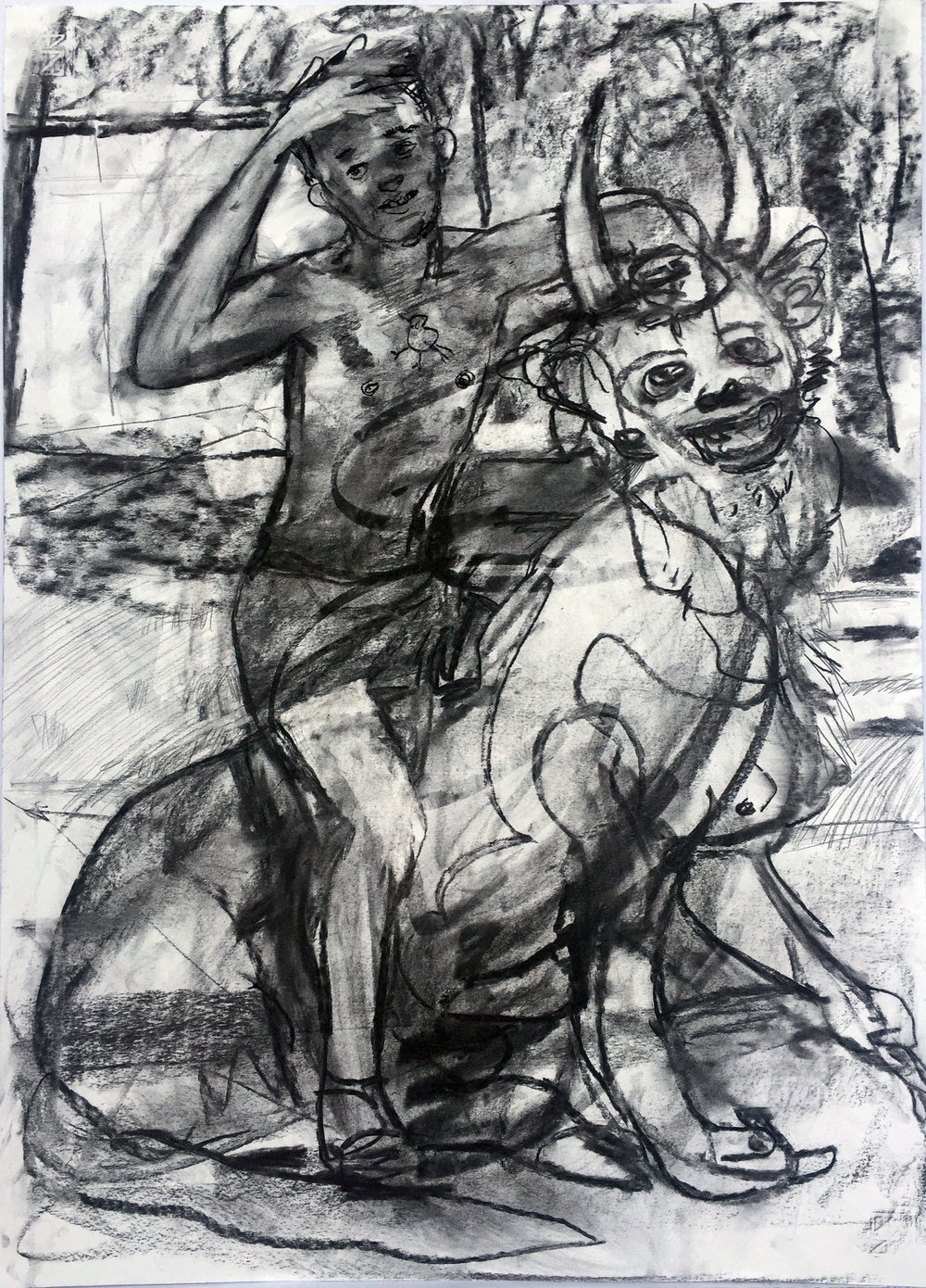 Son and fiend 18 by 24 inches charcoal on paper 2017.jpg