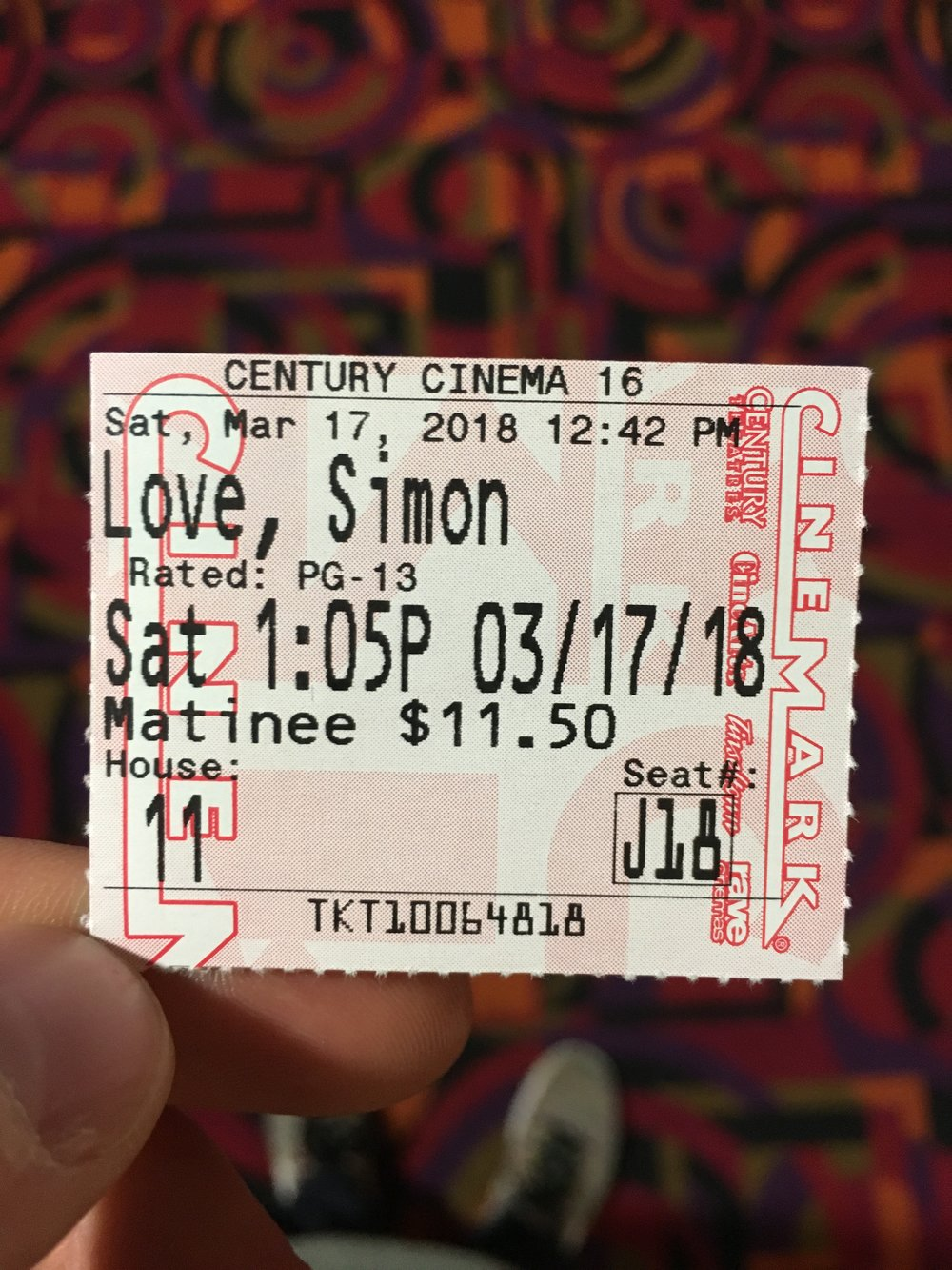 Love, Simon Movie Ticket