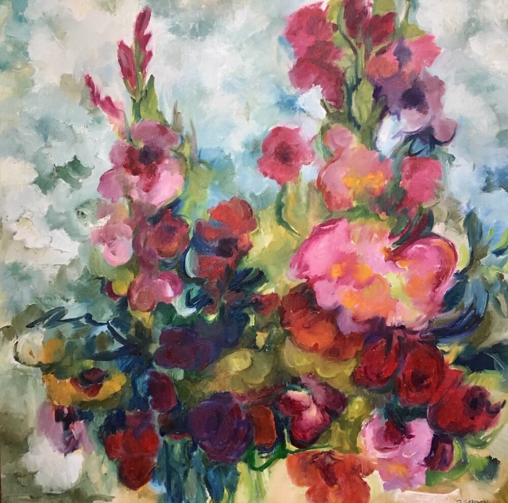 Scarlet Flowers, 30 x 30 inches