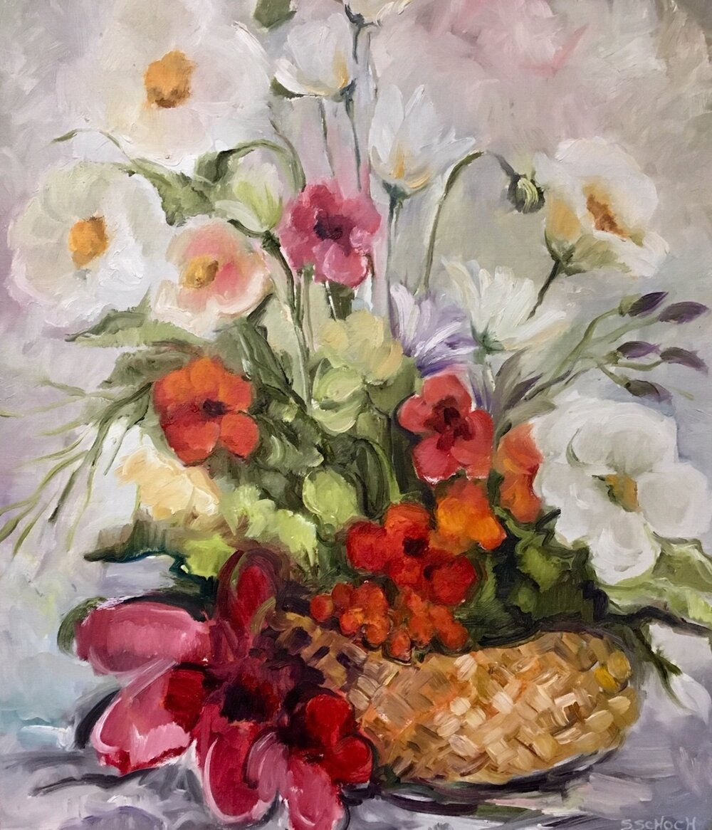 Bouquet In A Basket, 26 x 22 inches