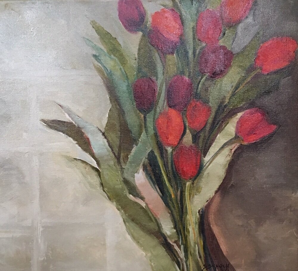 Red Tulips, 20 x 20 inches
