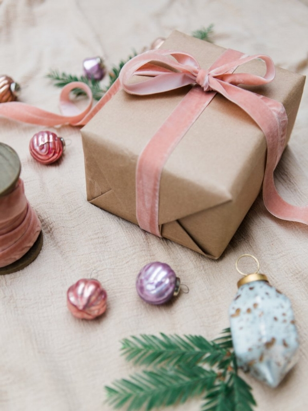 Holiday wrapping ideas with alternative color choices for Christmas by Foraged Home
