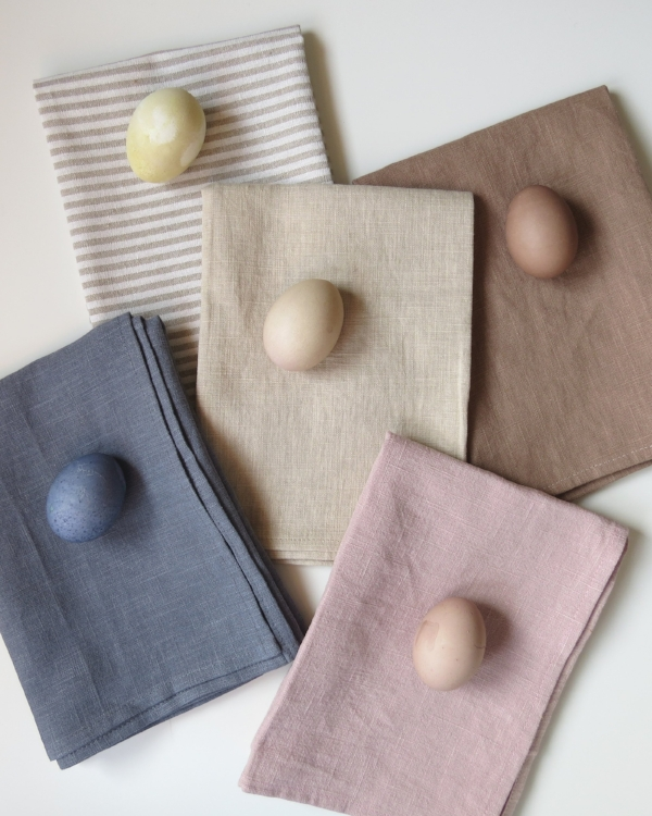Natural dyed tea towels and natural dyed easter eggs at Foraged Home