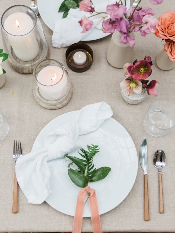 Spring place setting for wedding or party at Foraged Home