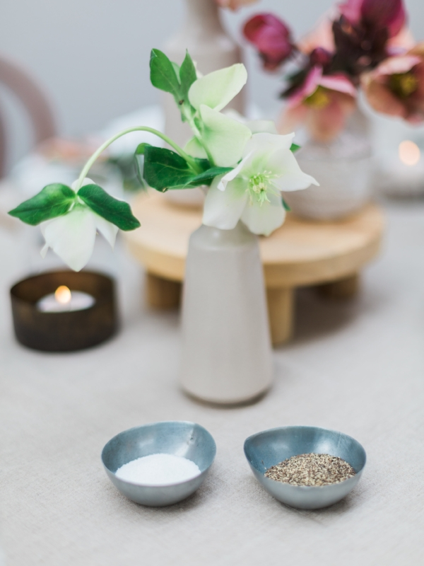 Garden party decor ideas with unique salt and pepper holders by Foragedhome.com