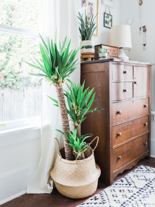 Seagrass basket used as plant holder in bohemian bedroom via Foragedhome.com